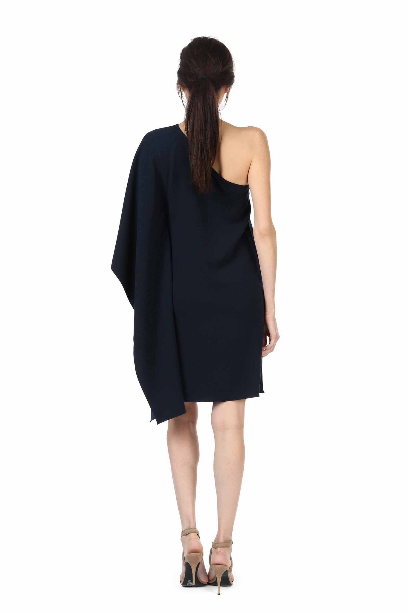 Jay Godfrey Navy One-Shoulder Kimono Dress - Back View