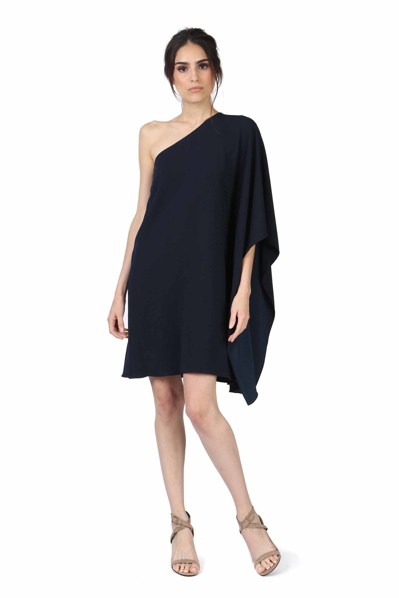 Jay Godfrey Navy One-Shoulder Kimono Dress - Front View