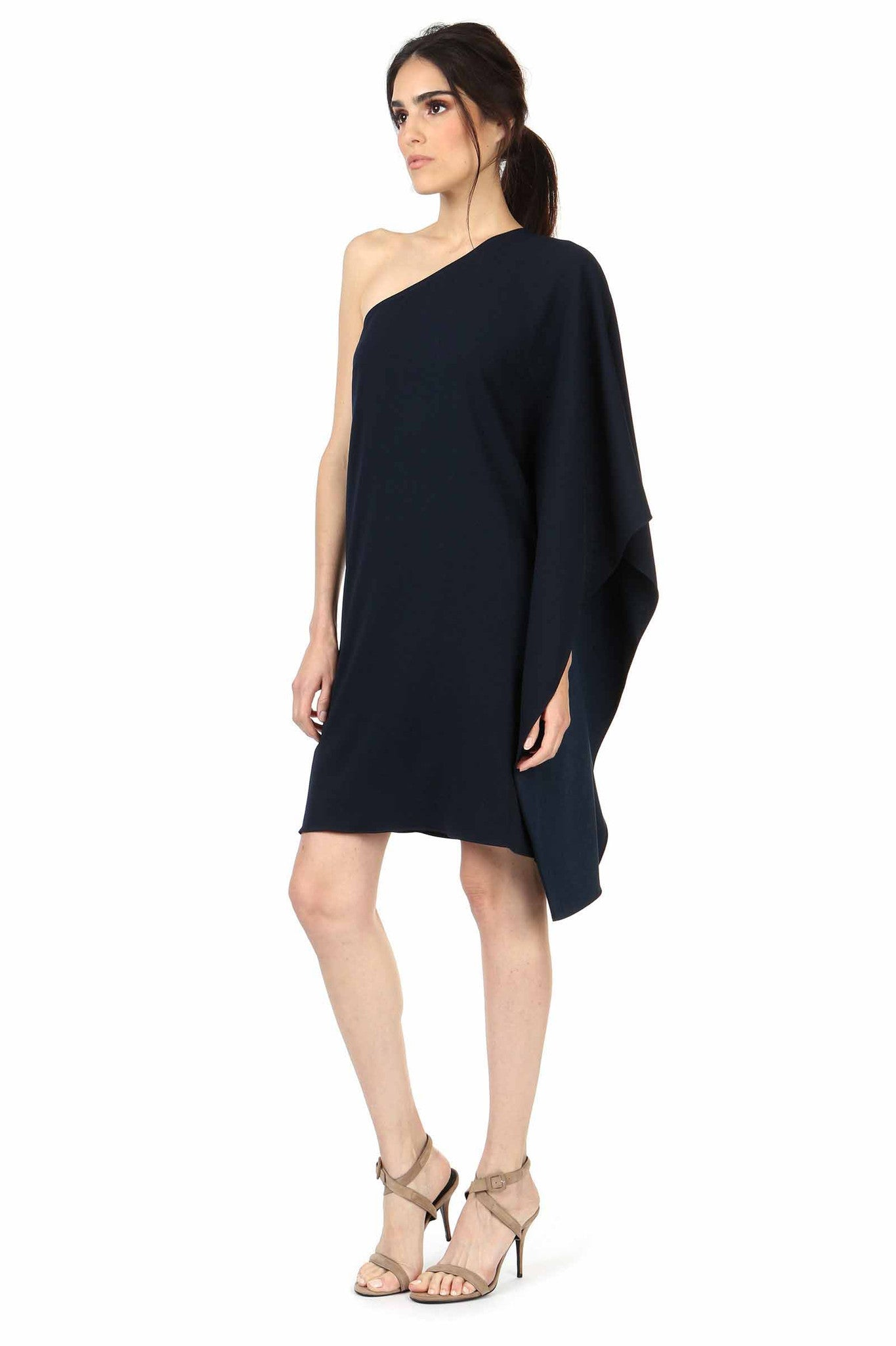 Jay Godfrey Navy One-Shoulder Kimono Dress - Side View