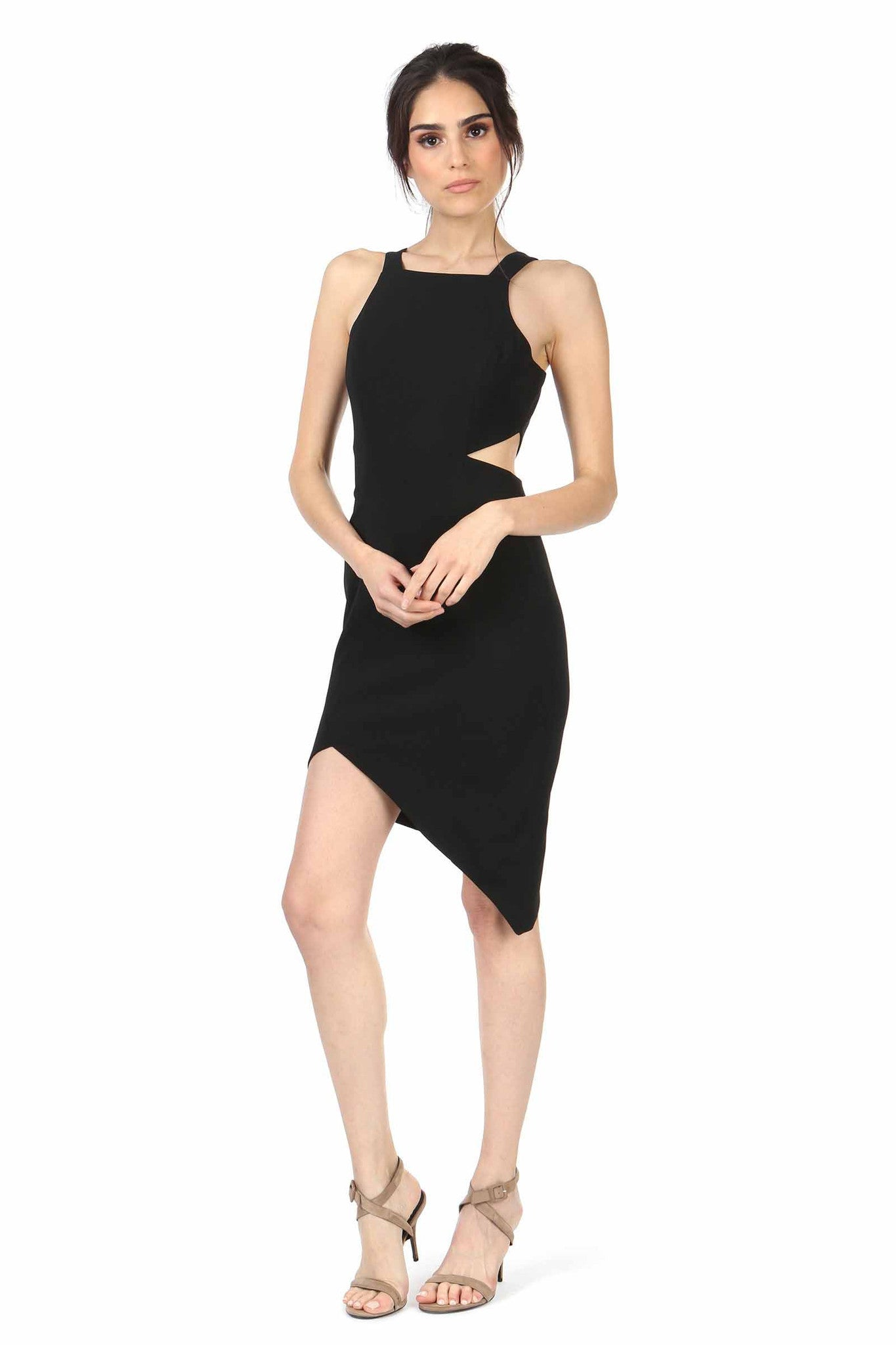 Jay Godfrey Black Cutout High-Neck Dress - Front View