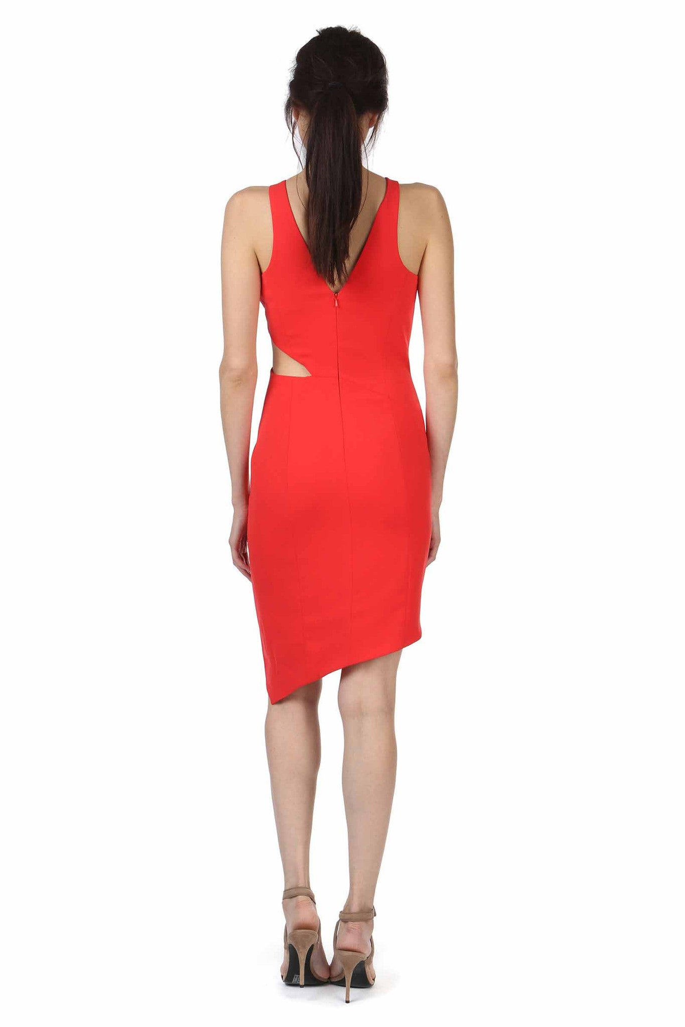 Jay Godfrey Red Cutout High-Neck Dress - Back View