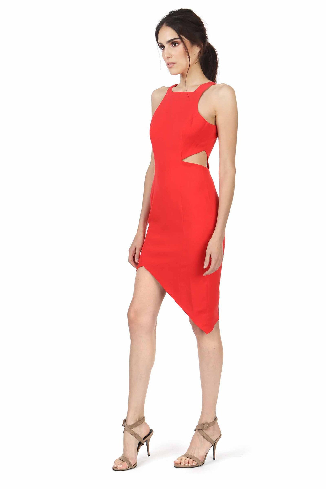 Jay Godfrey Red Cutout High-Neck Dress - Side View