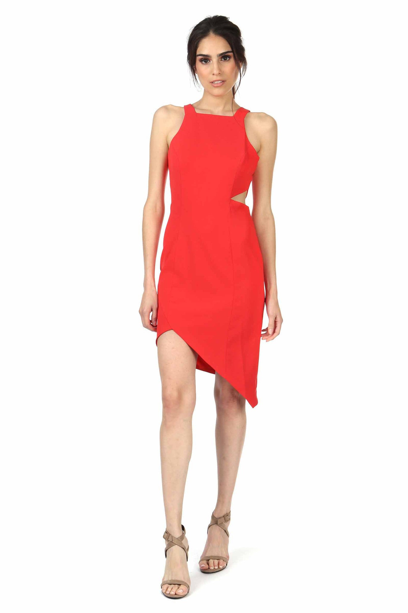 AIKENS SIDE CUT OUT CORAL RED DRESS