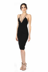 ALEXANDER DEEP V NECK BLACK DRESS