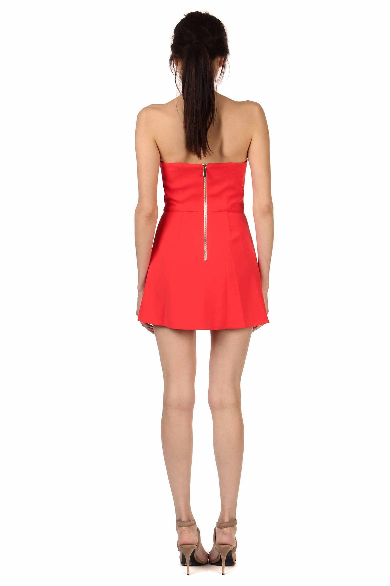 Jay Godfrey Red Strapless Romper - Back View