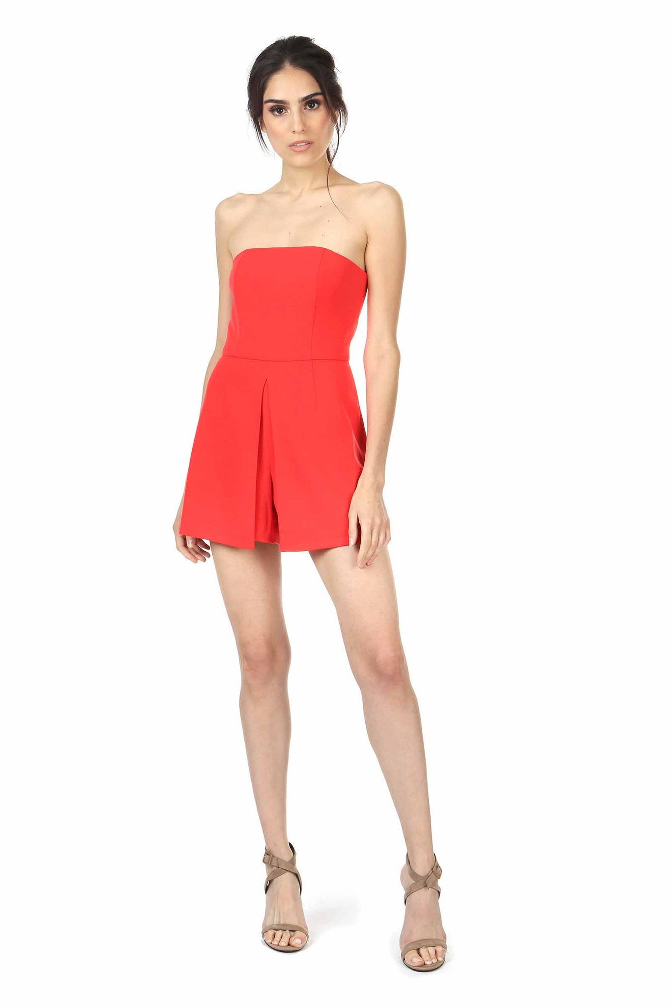 Jay Godfrey Red Strapless Romper - Front View