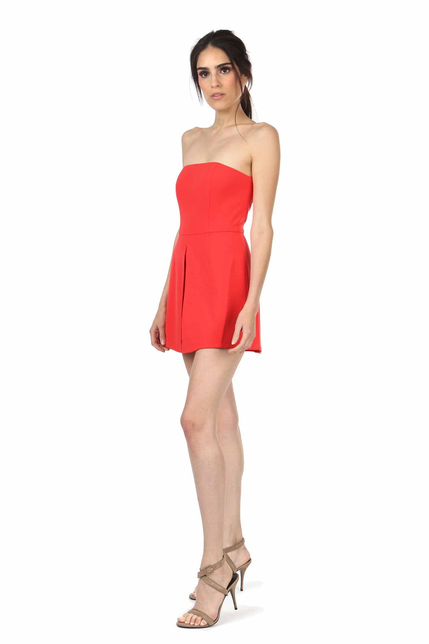 Jay Godfrey Red Strapless Romper - Side View