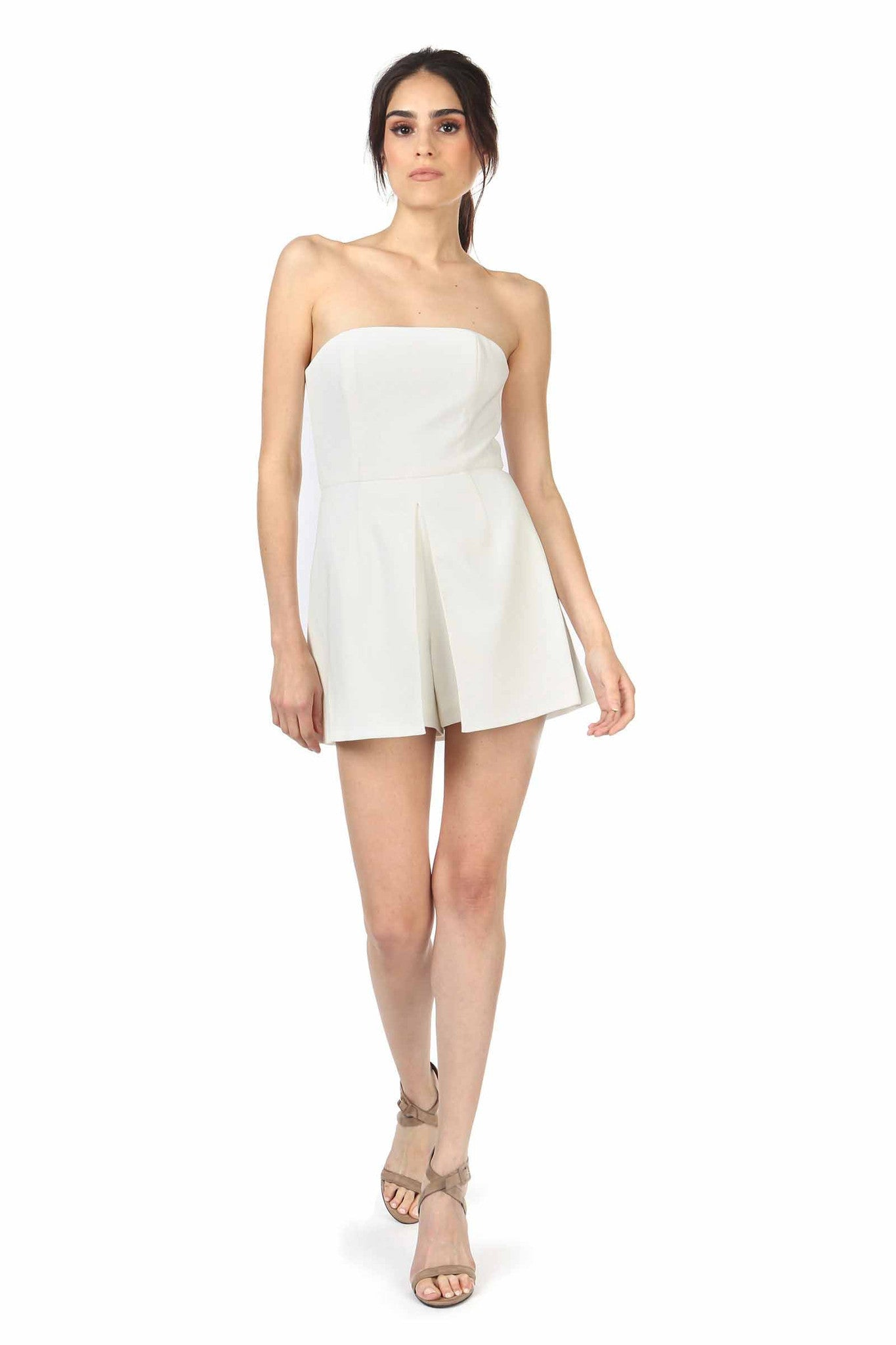 Jay Godfrey Ivory Strapless Romper - Front View