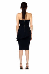 Jay Godfrey Navy Strapless Peplum Dress - Back View
