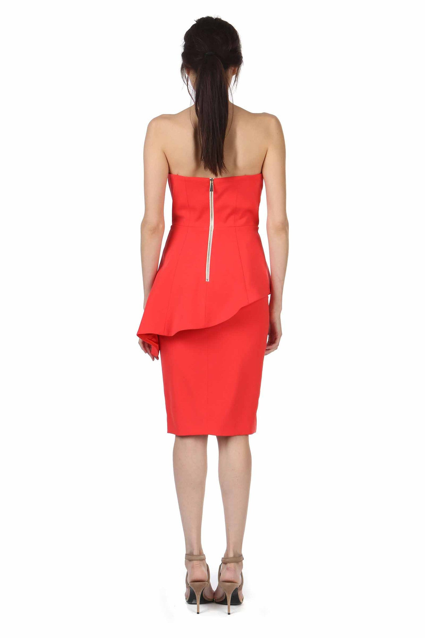 Jay Godfrey Red Strapless Peplum Dress - Back View