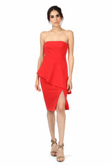 Jay Godfrey Red Strapless Peplum Dress - Front View
