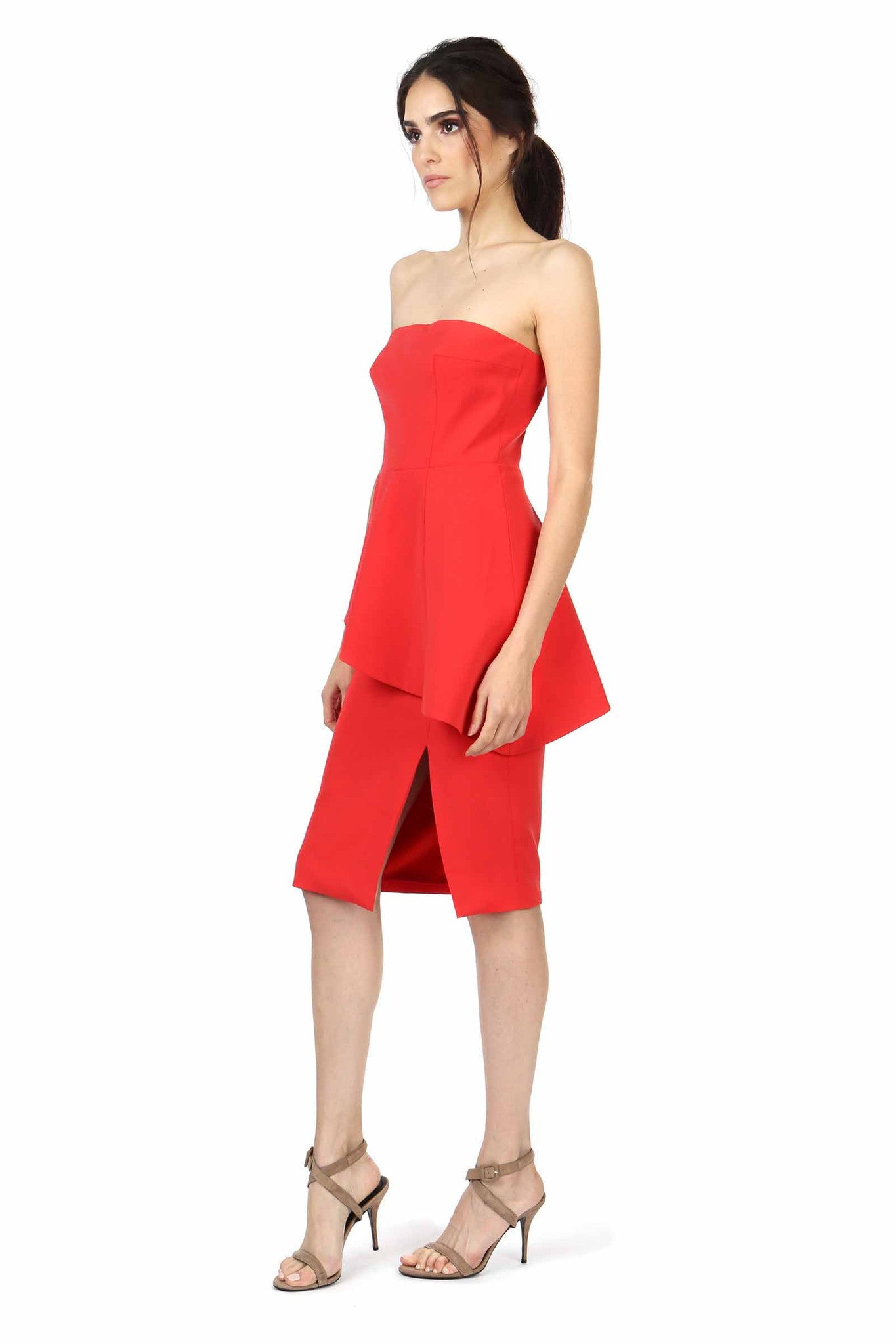AINGE CORAL RED PEPLUM DRESS