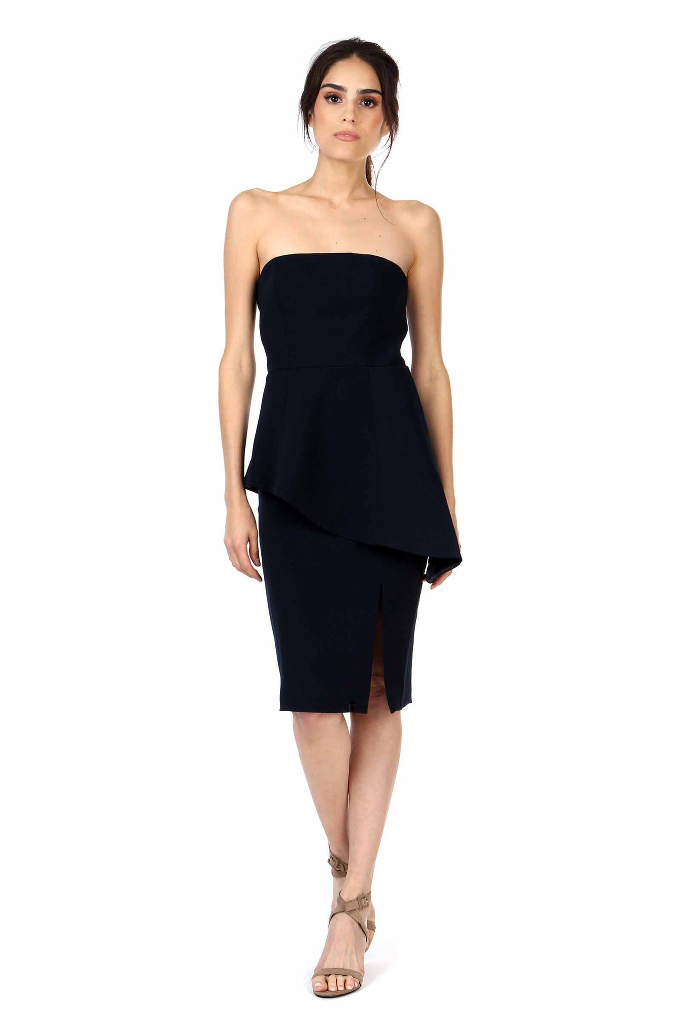 Jay Godfrey Navy Strapless Peplum Dress - Front View