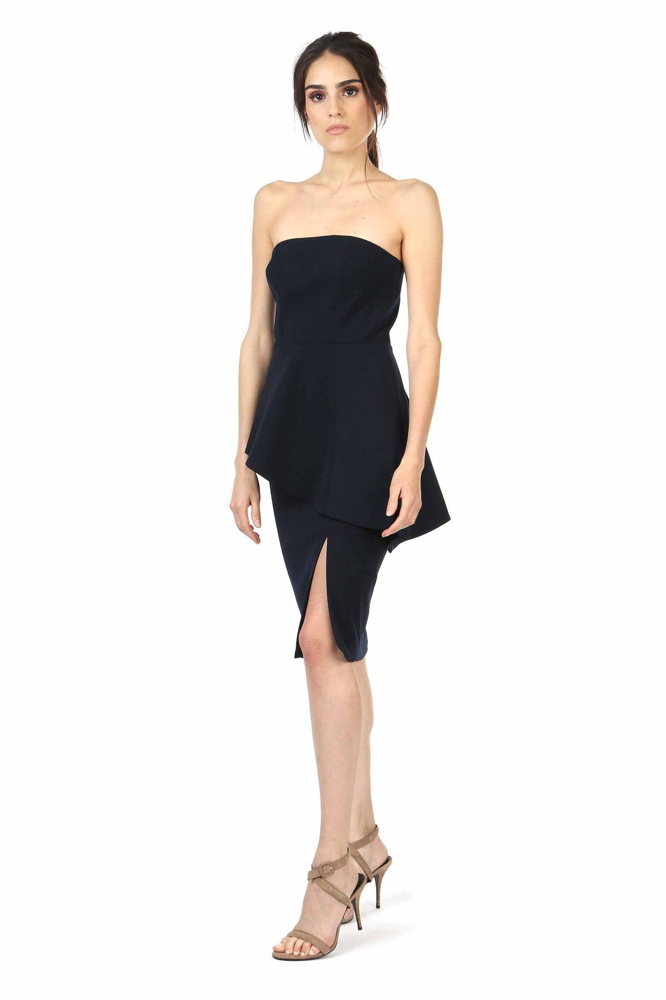 Jay Godfrey Navy Strapless Peplum Dress - Side View
