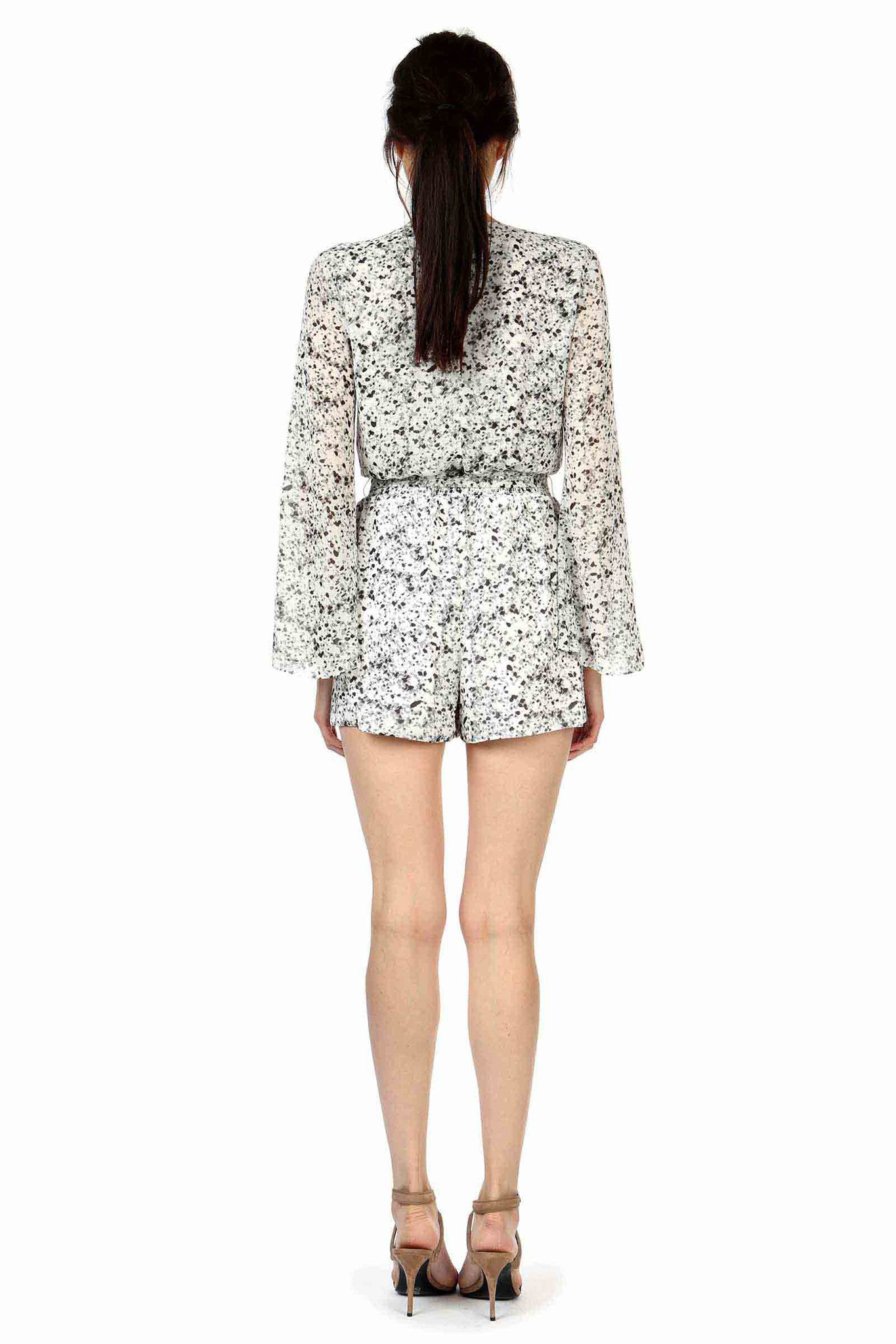 Jay Godfrey Black and White Printed Romper - Back View