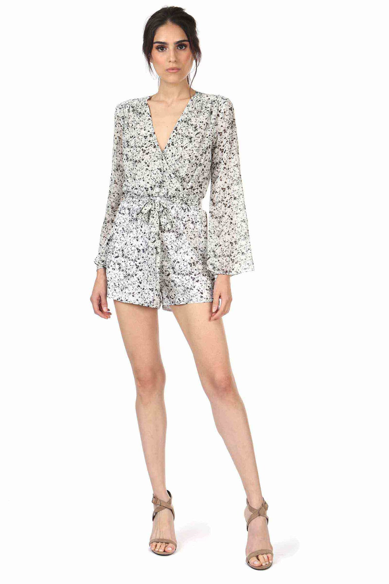 Jay Godfrey Black and White Printed Romper - Front View