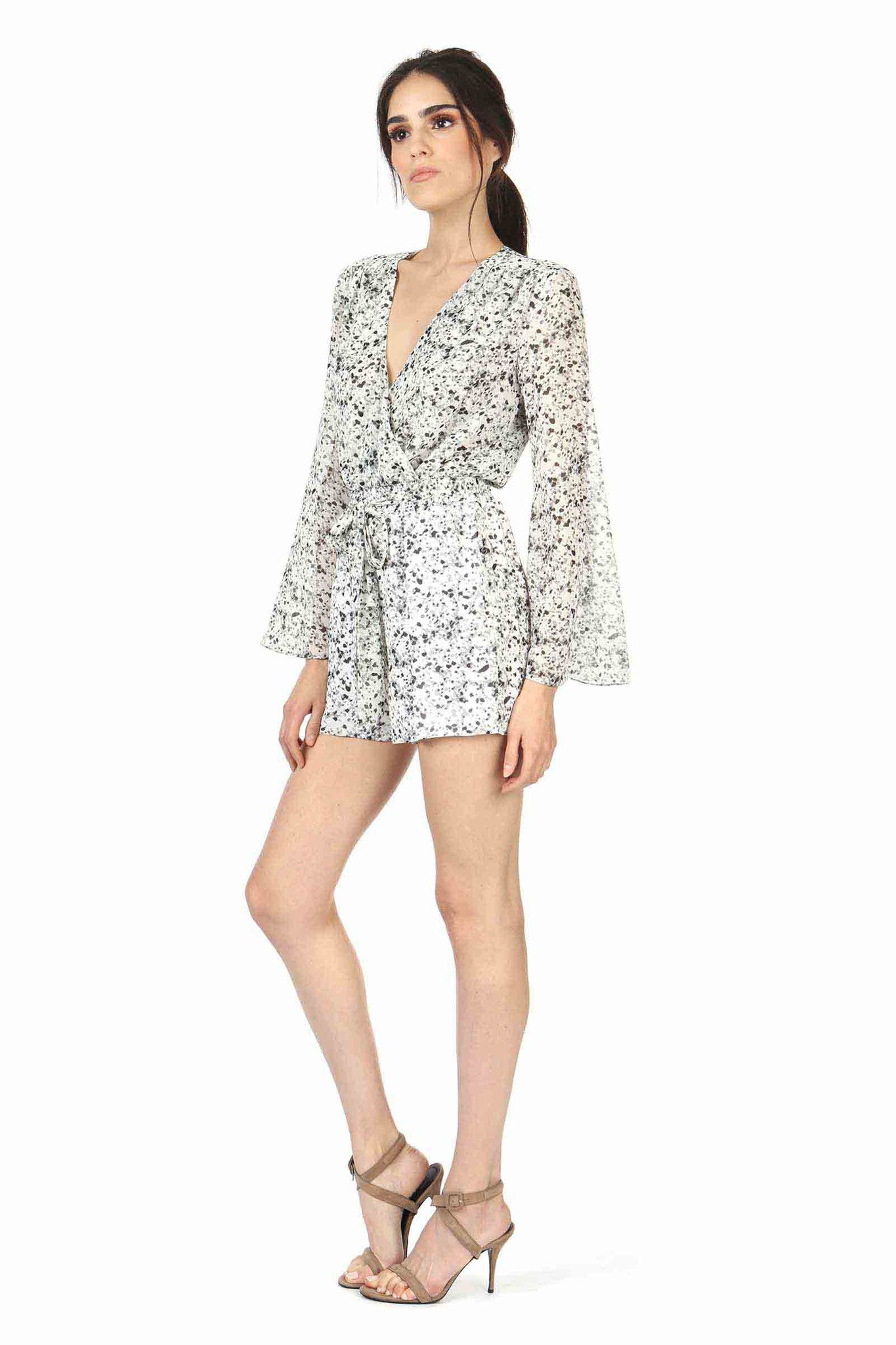 Jay Godfrey Black and White Printed Romper - Side View