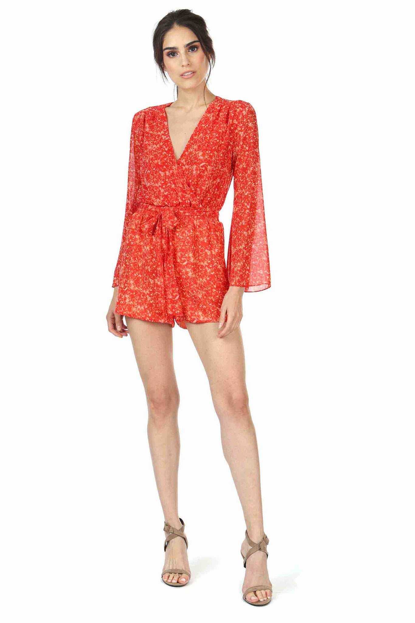 Jay Godfrey Red Printed Bell-Sleeve Romper - Front View