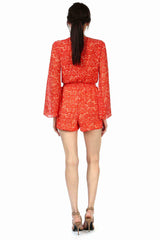 Jay Godfrey Red Printed Bell-Sleeve Romper - Back View