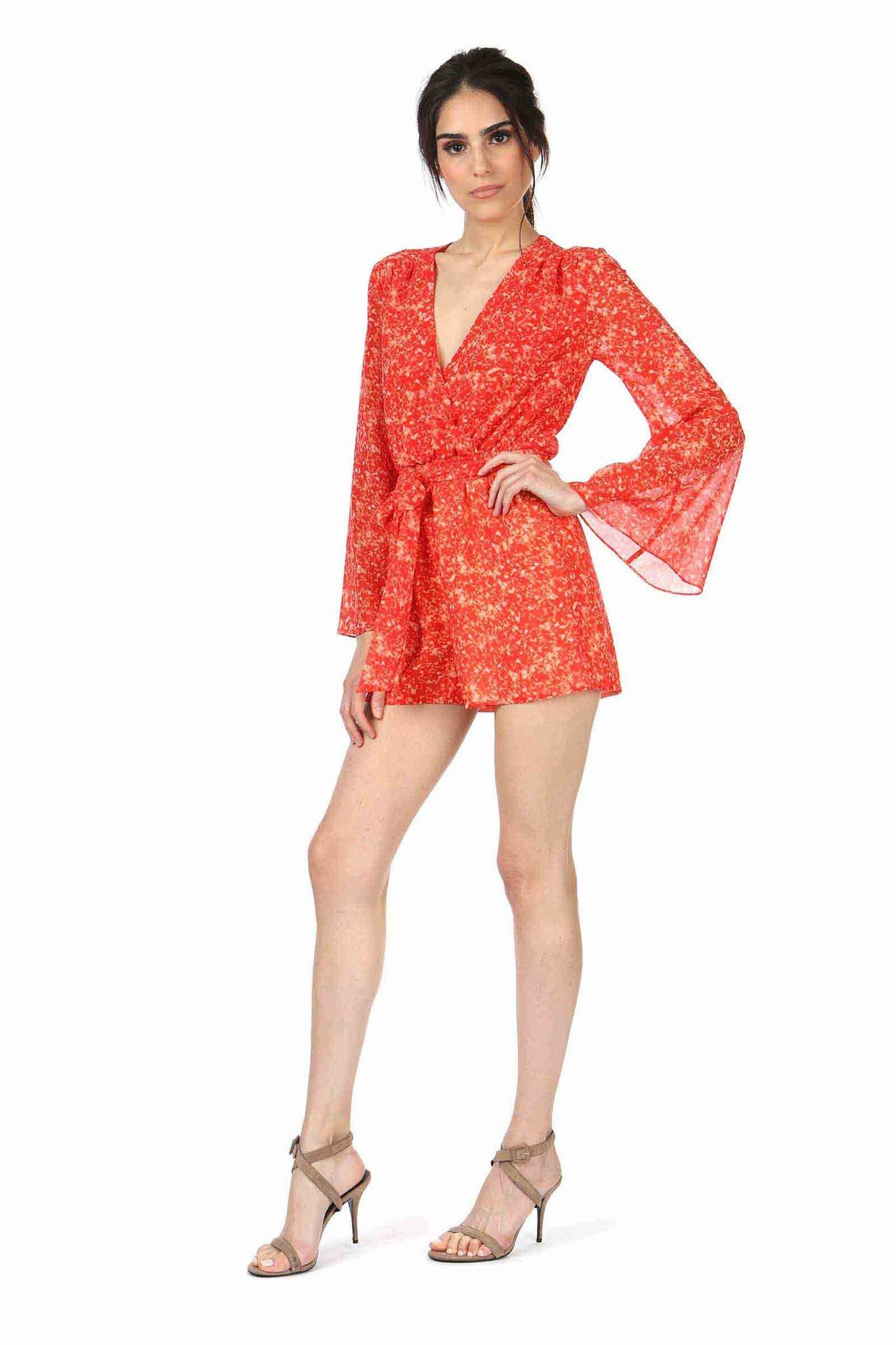Jay Godfrey Red Printed Bell-Sleeve Romper - Side View