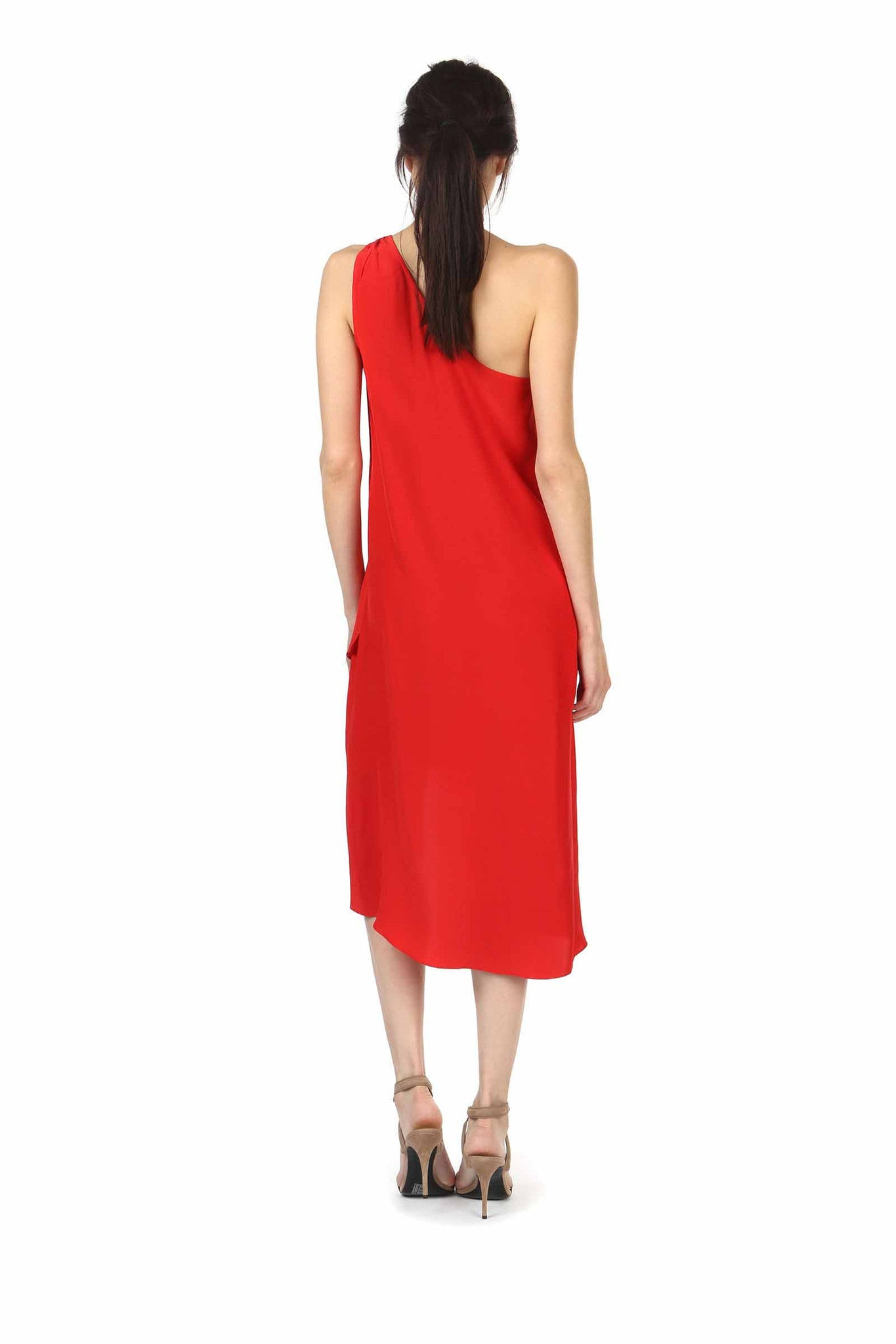 Jay Godfrey Red One-Shoulder Dress - Back View