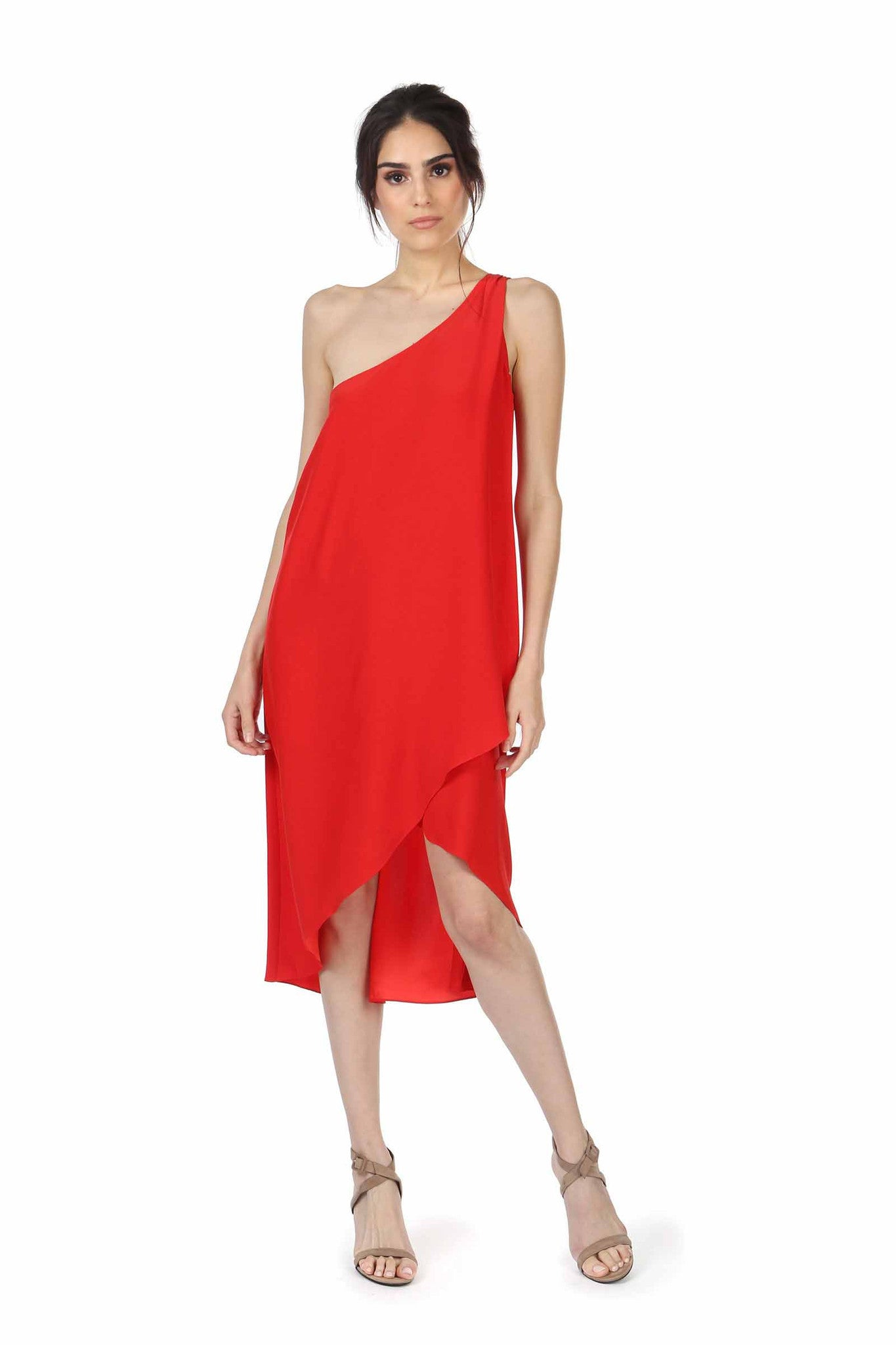 Jay Godfrey Red One-Shoulder Dress - Front View