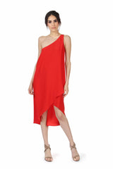 BONNELL  CORAL RED ONE SHOULDER DRESS
