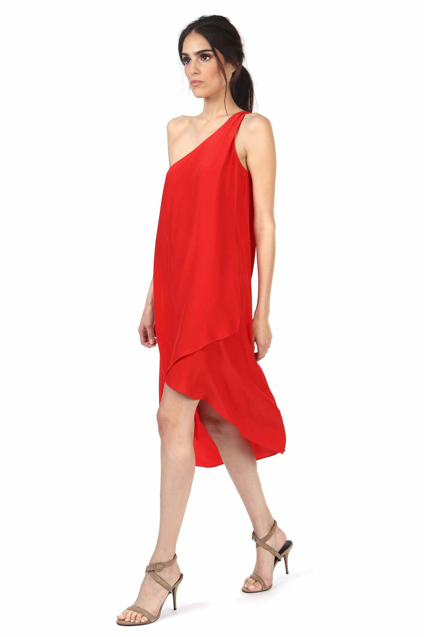 Jay Godfrey Red One-Shoulder Dress - Side View