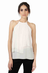 CAIRO IVORY SLEEVELESS SILK TOP
