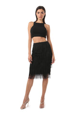 CHANA BLACK FRINGE PENCIL SKIRT