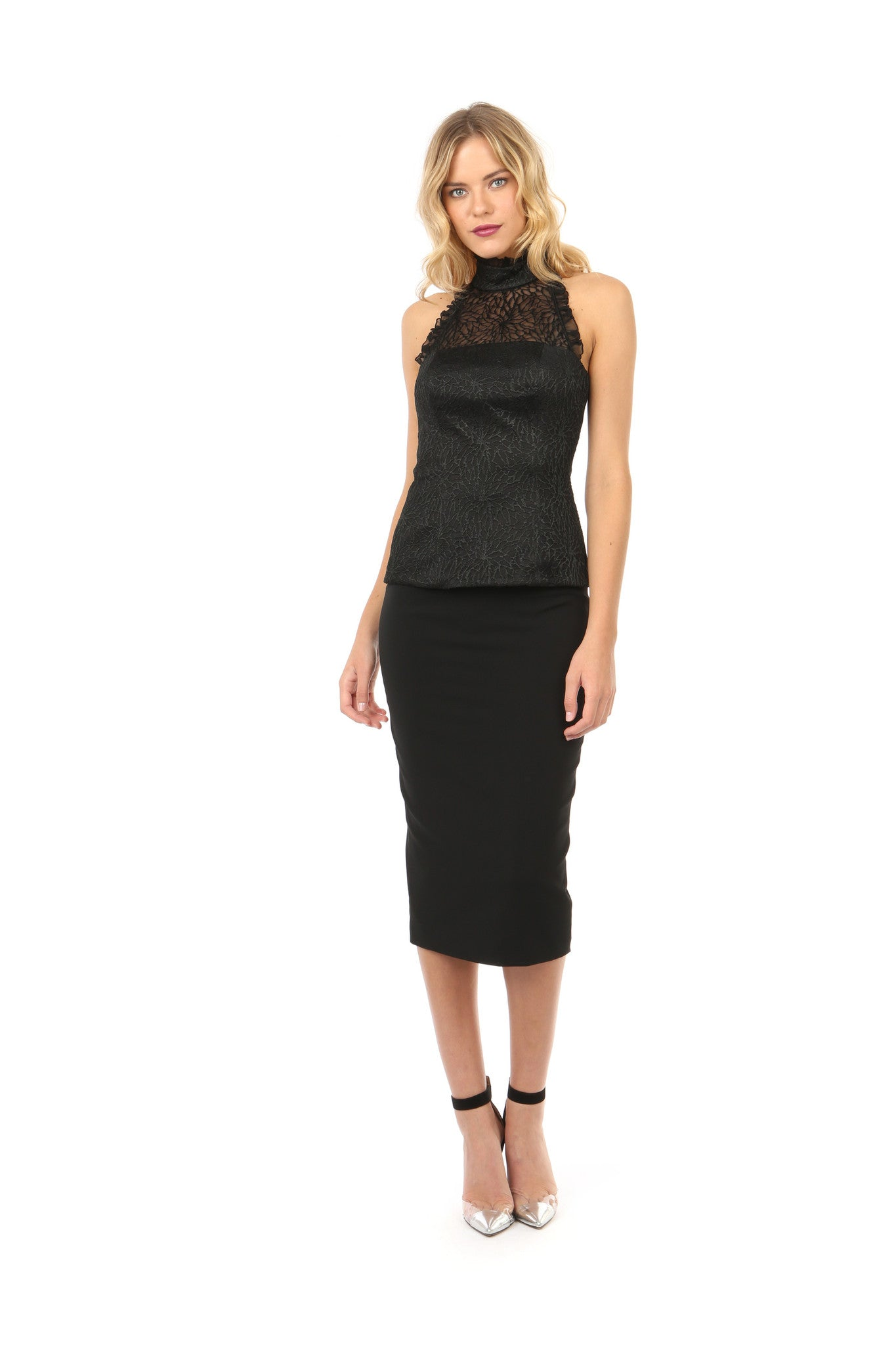 Jay Godfrey Black High-Neck Lace Top - Full Front View