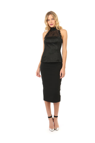 DORRIS BLACK STRETCH PENCIL SKIRT - FINAL SALE