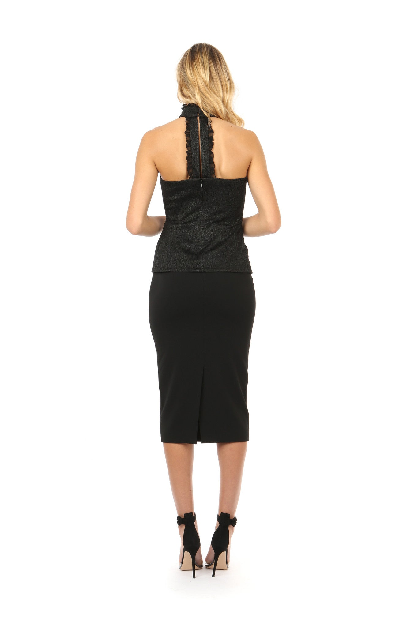 Jay Godfrey Black High-Neck Lace Top - Full Back View