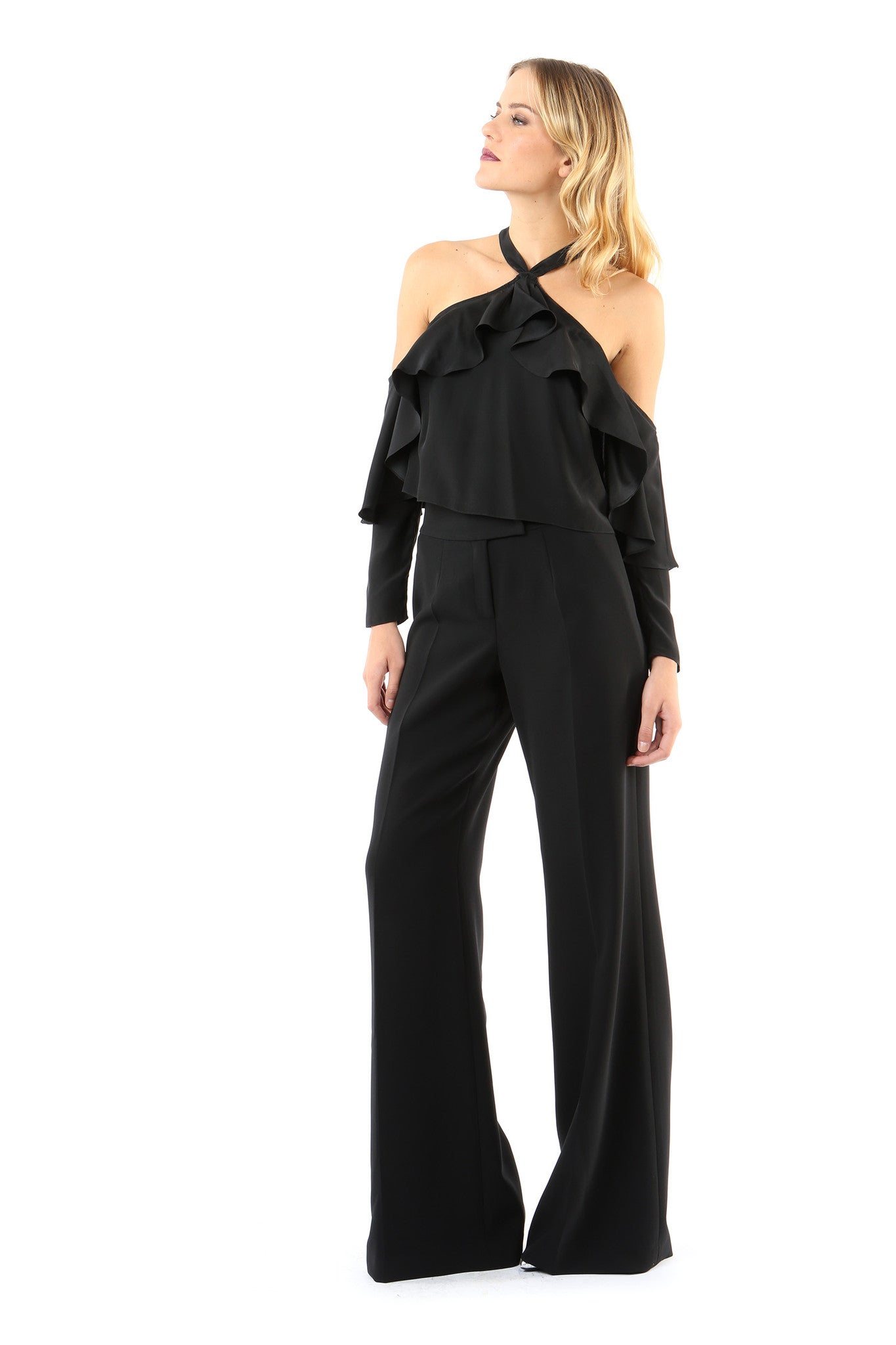 Jay Godfrey Black High-Waister Trousers - Full Front View