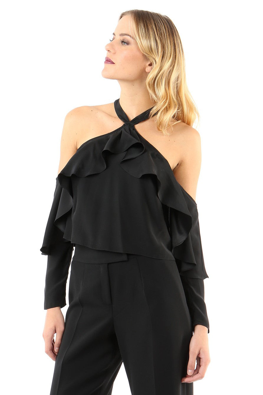 Jay Godfrey Black Cold Shoulder Ruffle Top - Front View