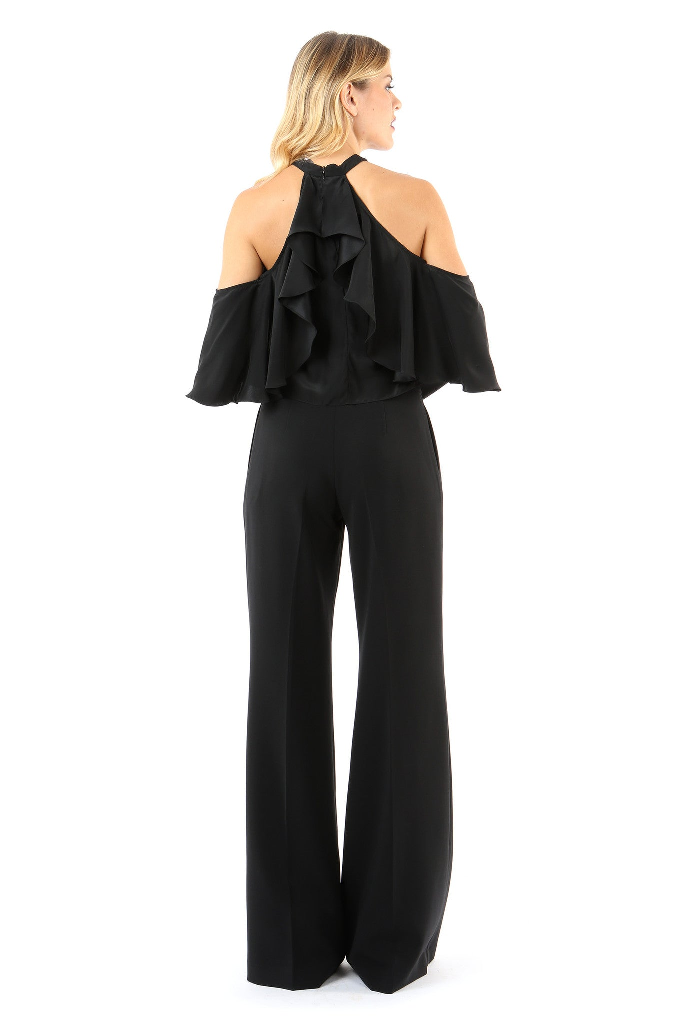 Jay Godfrey Black High-Waister Trousers - Back View
