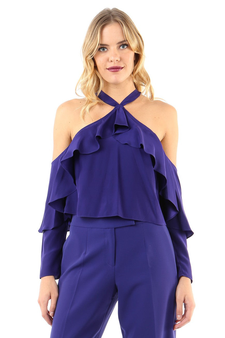 Jay Godfrey Indigo Cold Shoulder Ruffle Top - Front View