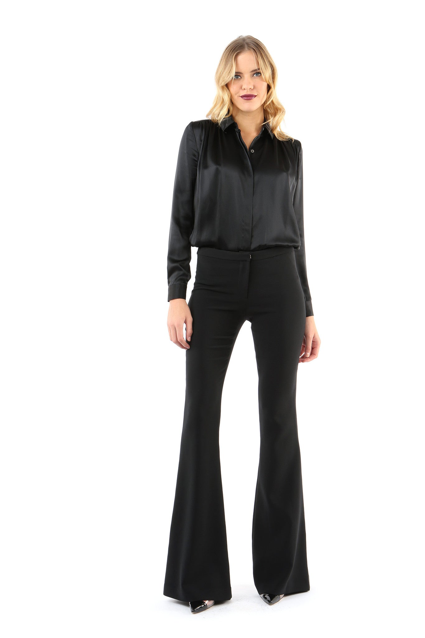 Jay Godfrey Black Flare Pants - Full Front View