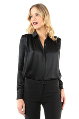 Jay Godfrey Black Silk Blouse - Front View