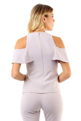 Jay Godfrey Mauve Cold-Shoulder Top - Back View