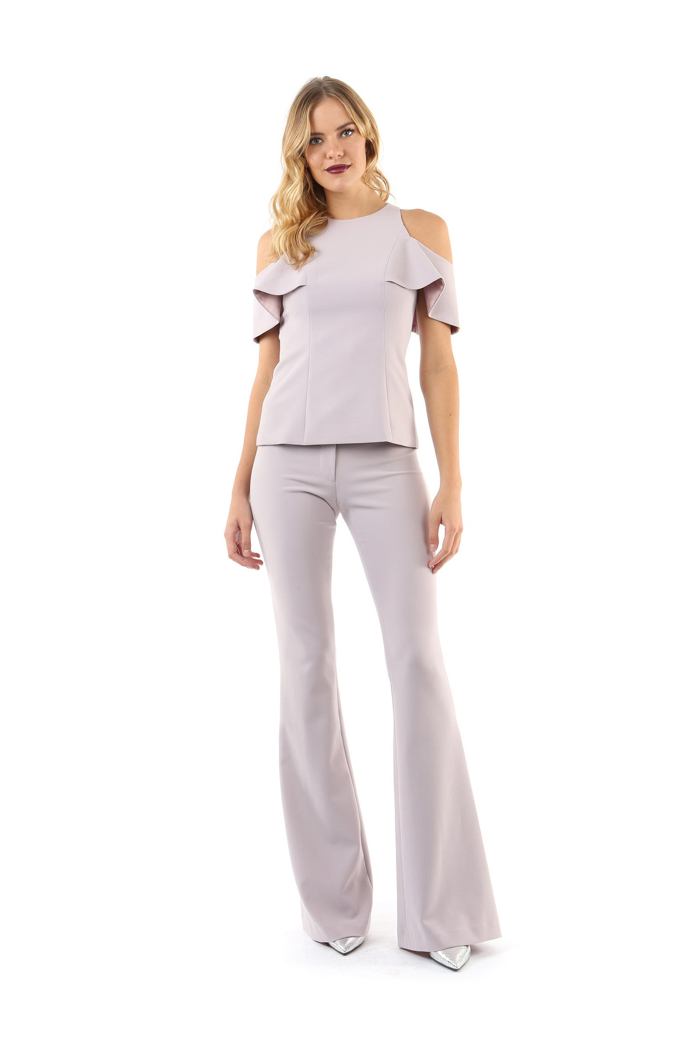 Jay Godfrey Mauve Cold-Shoulder Top - Full Front View