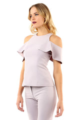 Jay Godfrey Mauve Cold-Shoulder Top - Front View