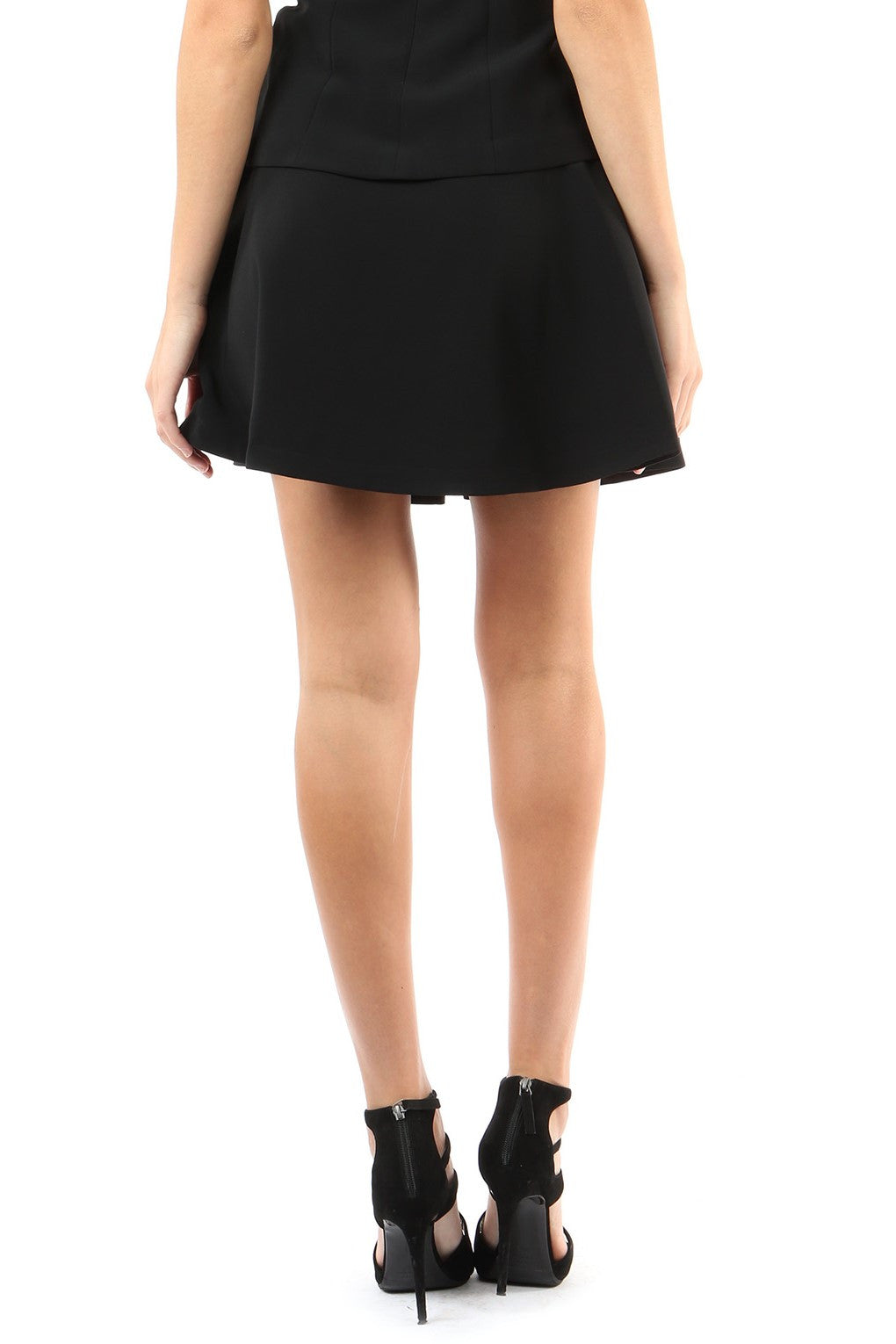 Jay Godfrey Black Pleated Mini Skirt - Back View