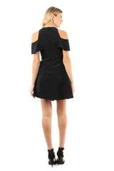 Jay Godfrey Black Pleated Mini Skirt - Full Back View