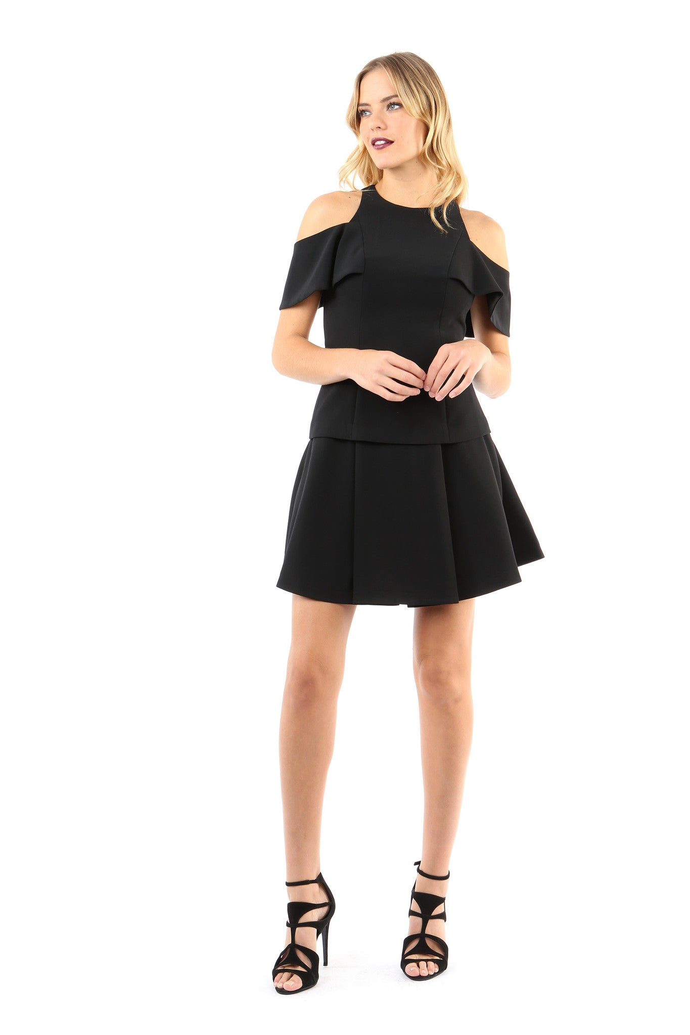 Jay Godfrey Black Cold-Shoulder Top - Full Front View