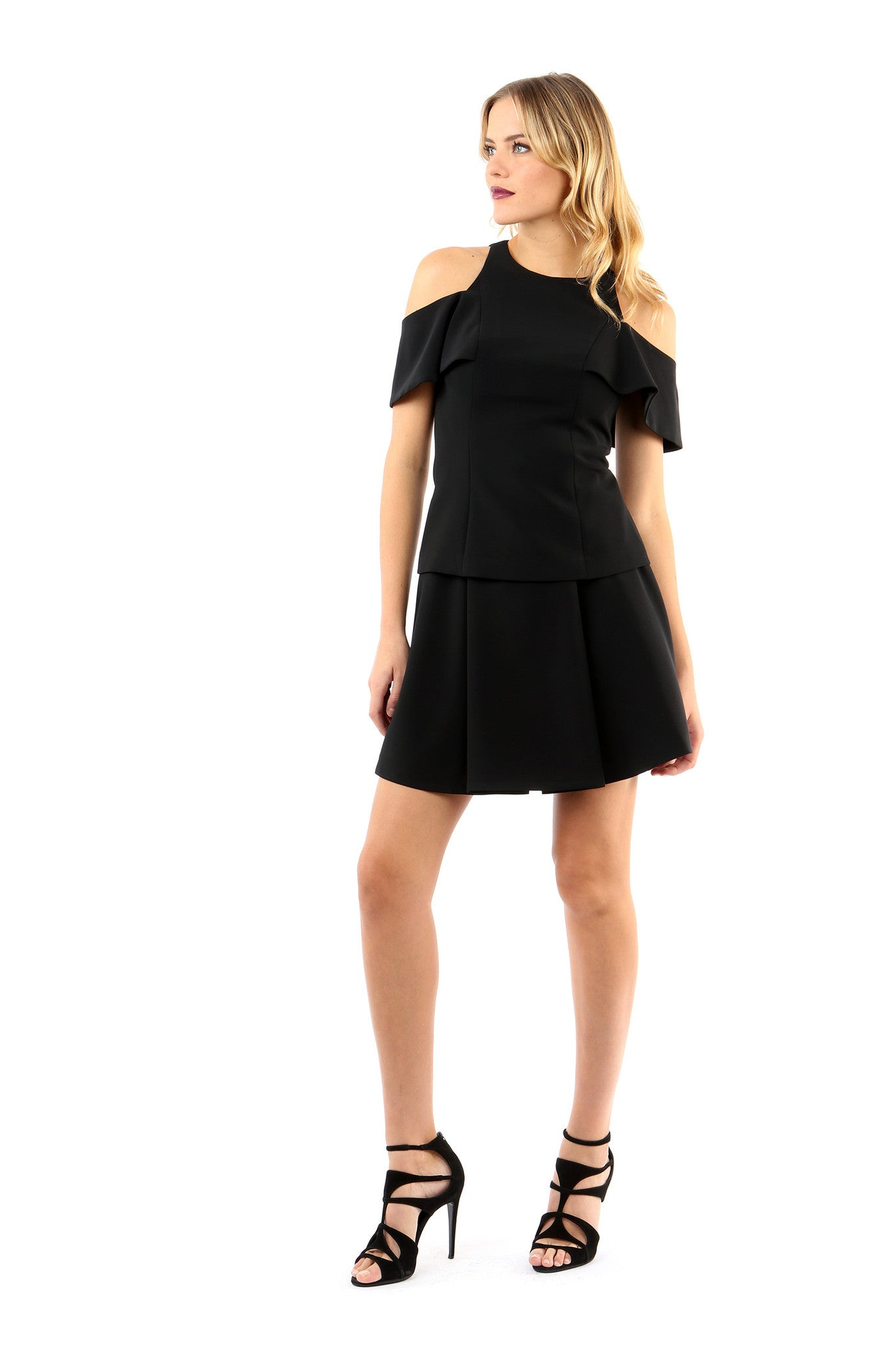 Jay Godfrey Black Pleated Mini Skirt - Full Front View