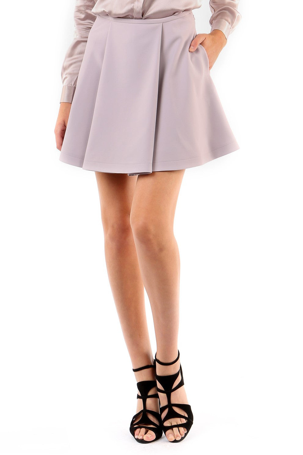 Jay Godfrey Mauve Pleated Mini Skirt - Front View