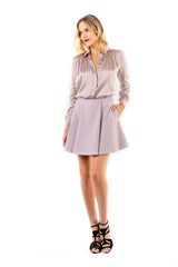 Jay Godfrey Mauve Pleated Mini Skirt - Full Front View