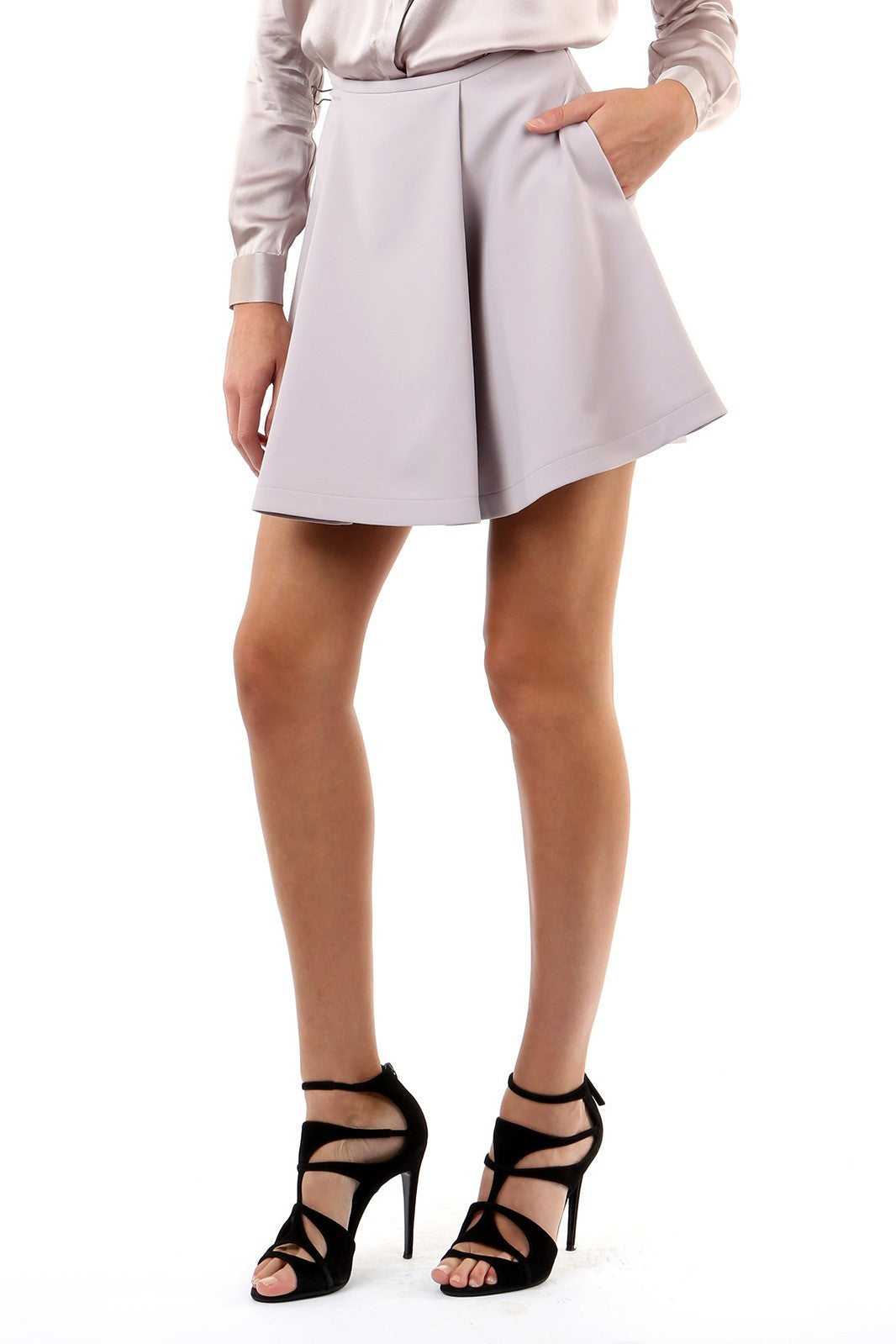 Jay Godfrey Mauve Pleated Mini Skirt - Side View