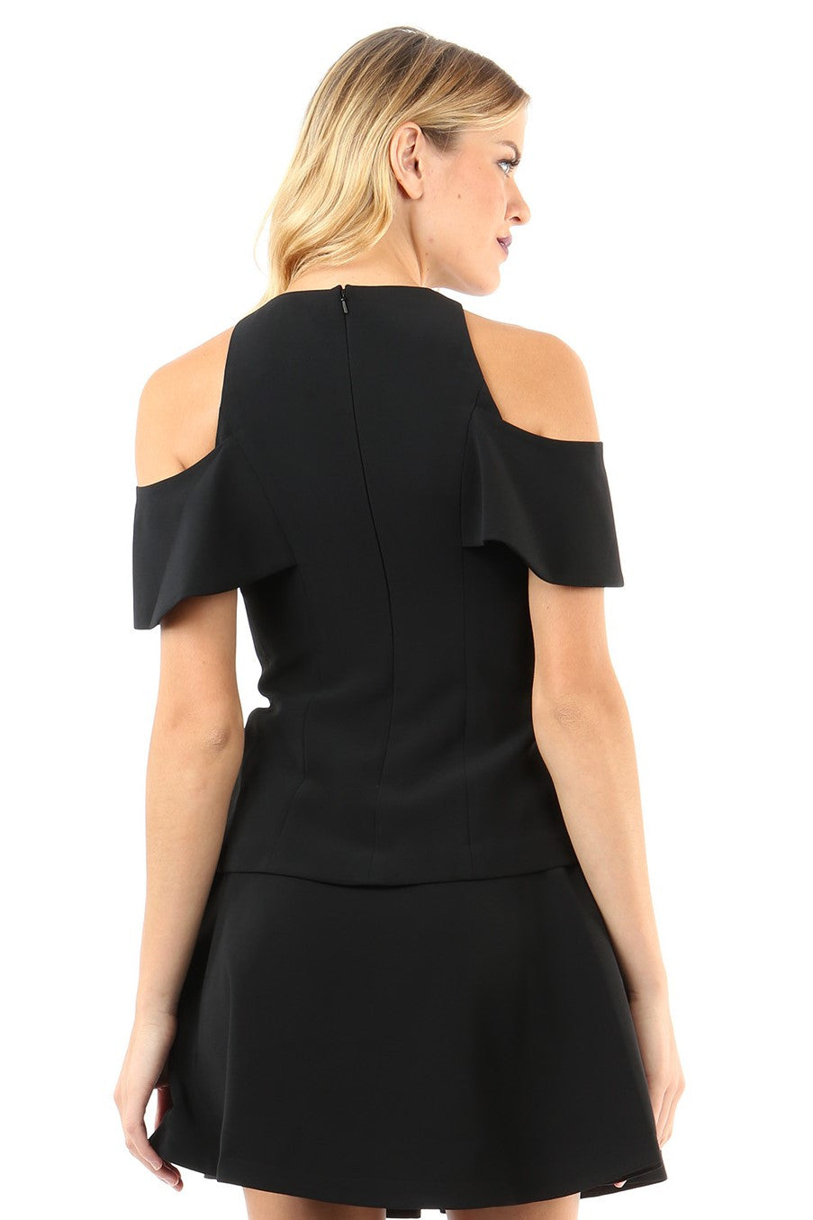 Jay Godfrey Black Cold-Shoulder Top - Back View